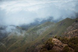 hiker looking on to the landscape of madeira