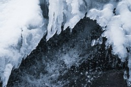 details of the ice on a waterfall