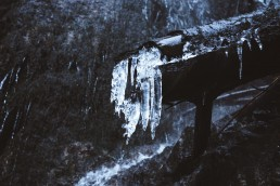 Icicles on a trunk in front of a waterfall