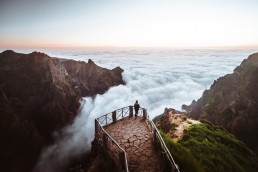 Girl stands on a viewpoint overlooking Madeira