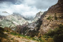 view on to a mountain valley on madeira