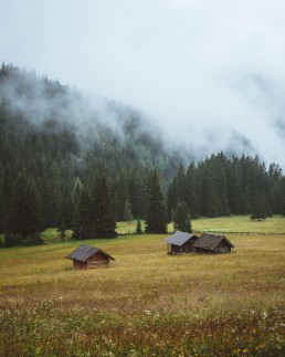Three mountain cabins on a meadow